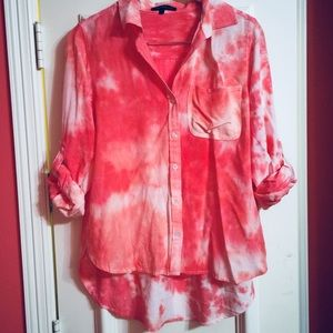 Pink Cloud Tie Dye Button Up Blouse NWOT